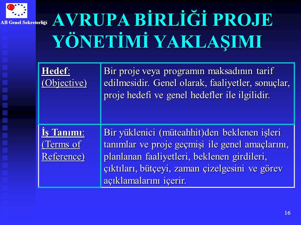 AB Genel Sekreterliği 16 AVRUPA BİRLİĞİ PROJE YÖNETİMİ YAKLAŞIMI Hedef: (Objective) Bir proje veya programın maksadının tarif edilmesidir. Genel olara