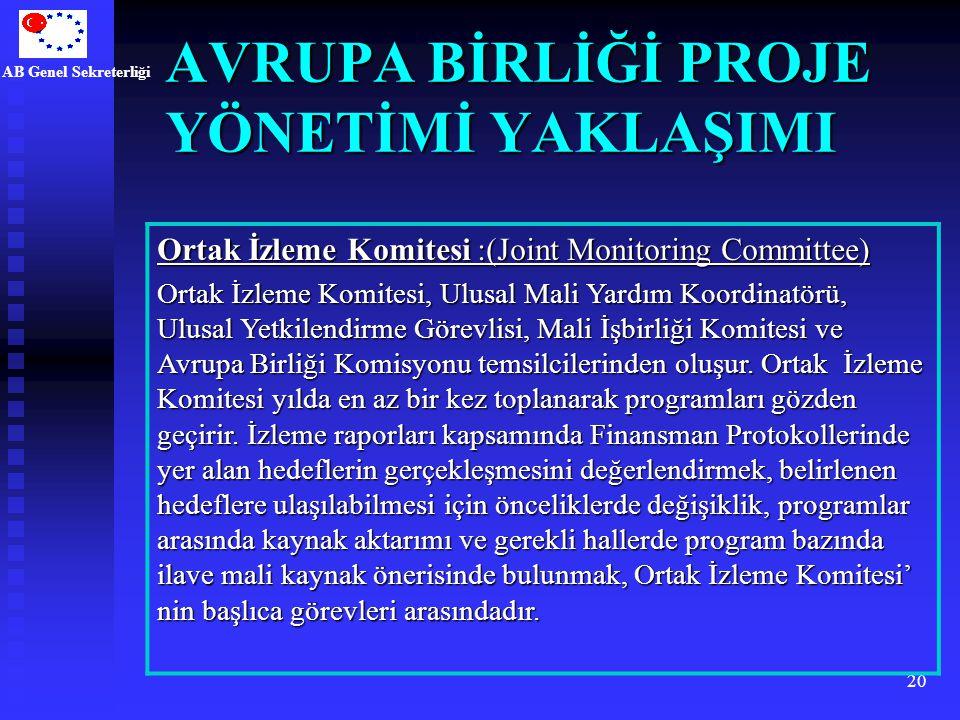 AB Genel Sekreterliği 20 AVRUPA BİRLİĞİ PROJE YÖNETİMİ YAKLAŞIMI Ortak İzleme Komitesi :(Joint Monitoring Committee) Ortak İzleme Komitesi, Ulusal Mal