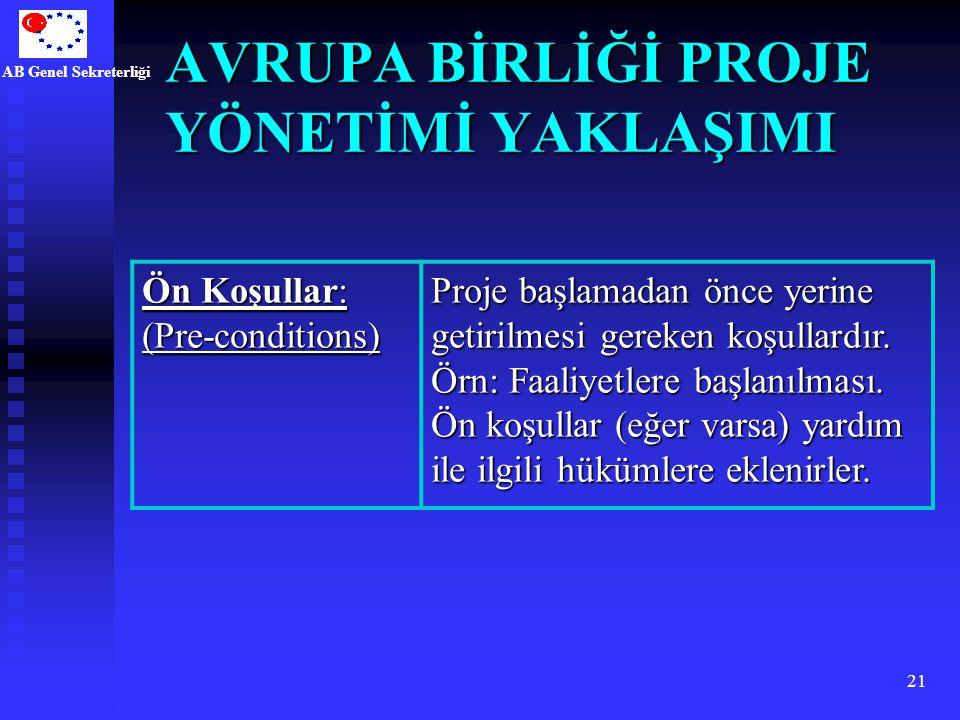 AB Genel Sekreterliği 21 AVRUPA BİRLİĞİ PROJE YÖNETİMİ YAKLAŞIMI Ön Koşullar: (Pre-conditions) Proje başlamadan önce yerine getirilmesi gereken koşull
