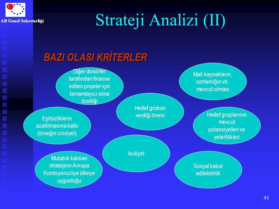 AB Genel Sekreterliği 41 Strateji Analizi (II) Aciliyet Hedef grubun verdiği önem Eşitsizliklerin azaltılmasına katkı (örneğin:cinsiyet) Sosyal kabul