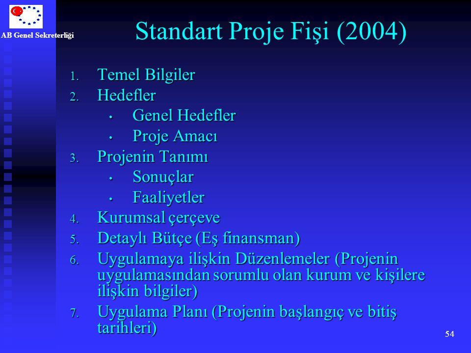 AB Genel Sekreterliği 54 Standart Proje Fişi (2004) 1. Temel Bilgiler 2. Hedefler Genel Hedefler Genel Hedefler Proje Amacı Proje Amacı 3. Projenin Ta