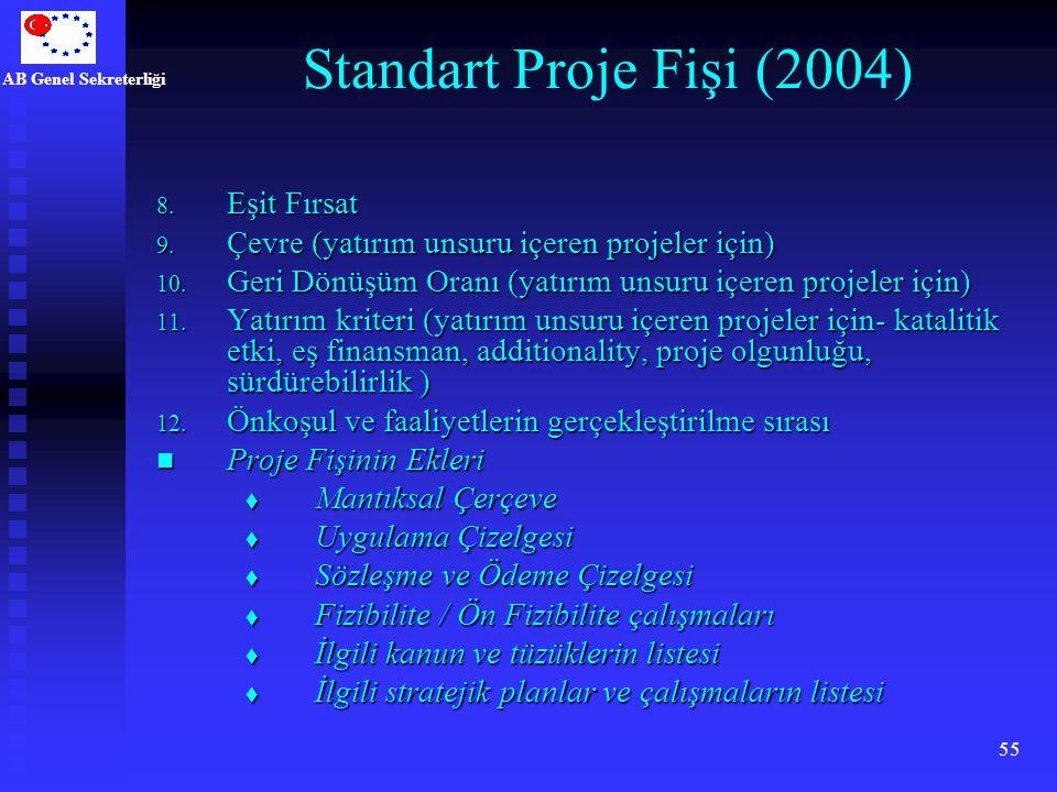 AB Genel Sekreterliği 55 Standart Proje Fişi (2004) 8. Eşit Fırsat 9. Çevre (yatırım unsuru içeren projeler için) 10. Geri Dönüşüm Oranı (yatırım unsu