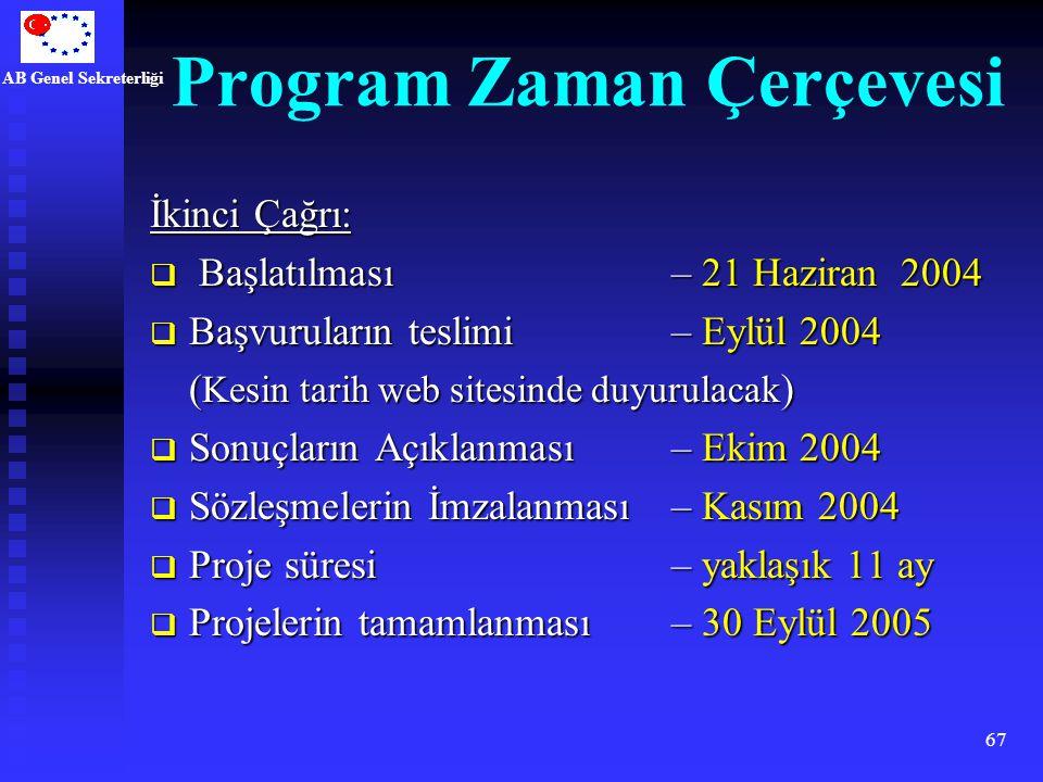 AB Genel Sekreterliği 67 Program Zaman Çerçevesi İkinci Çağrı:  Başlatılması– 21 Haziran 2004  Başvuruların teslimi – Eylül 2004 ( Kesin tarih web s