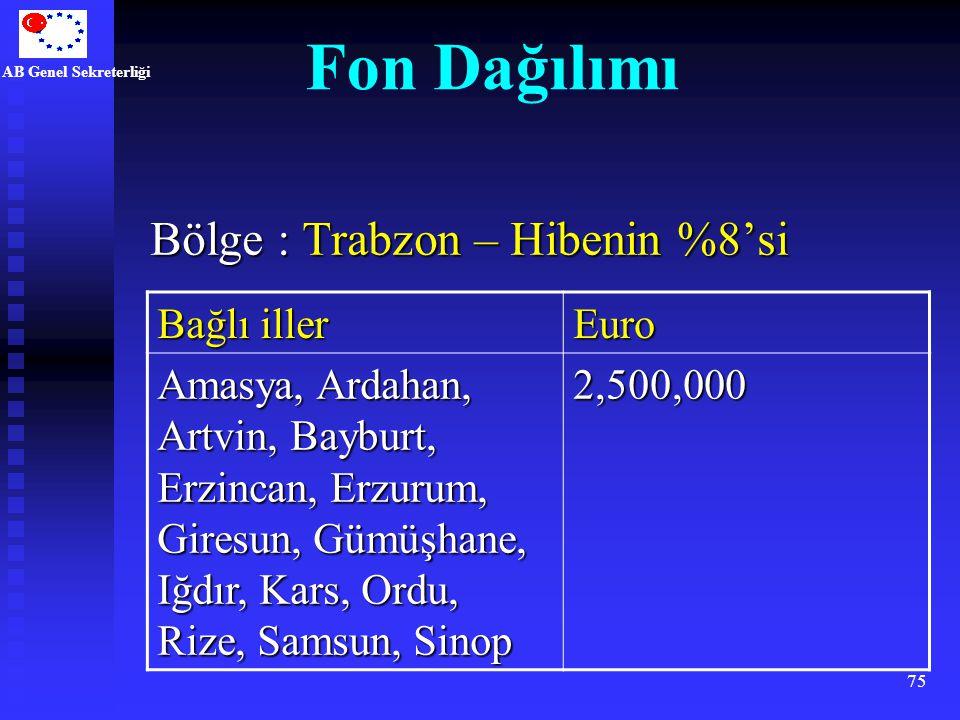 AB Genel Sekreterliği 75 Bölge : Trabzon – Hibenin %8'si Bağlı iller Euro Amasya, Ardahan, Artvin, Bayburt, Erzincan, Erzurum, Giresun, Gümüşhane, Iğd
