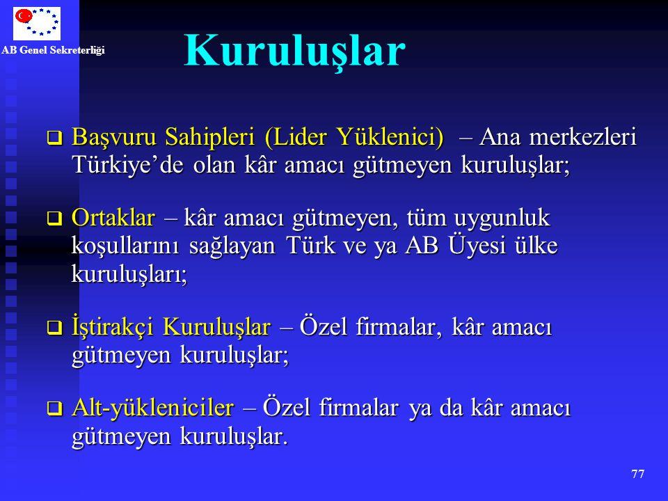 AB Genel Sekreterliği 77 Kuruluşlar  Başvuru Sahipleri (Lider Yüklenici) – Ana merkezleri Türkiye'de olan kâr amacı gütmeyen kuruluşlar;  Ortaklar –