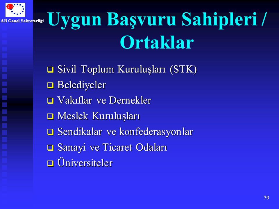 AB Genel Sekreterliği 79 Uygun Başvuru Sahipleri / Ortaklar  Sivil Toplum Kuruluşları (STK)  Belediyeler  Vakıflar ve Dernekler  Meslek Kuruluşlar
