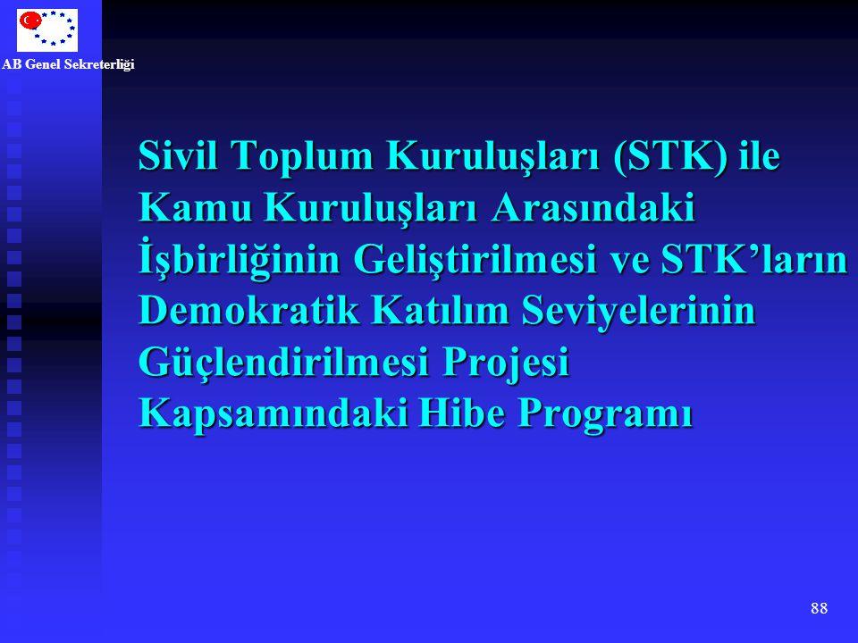 AB Genel Sekreterliği 88 Sivil Toplum Kuruluşları (STK) ile Kamu Kuruluşları Arasındaki İşbirliğinin Geliştirilmesi ve STK'ların Demokratik Katılım Se