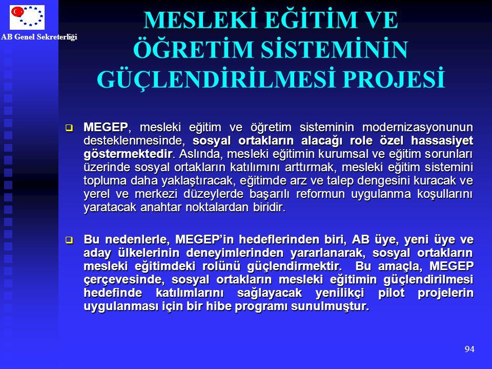 AB Genel Sekreterliği 94  MEGEP, mesleki eğitim ve öğretim sisteminin modernizasyonunun desteklenmesinde, sosyal ortakların alacağı role özel hassasi