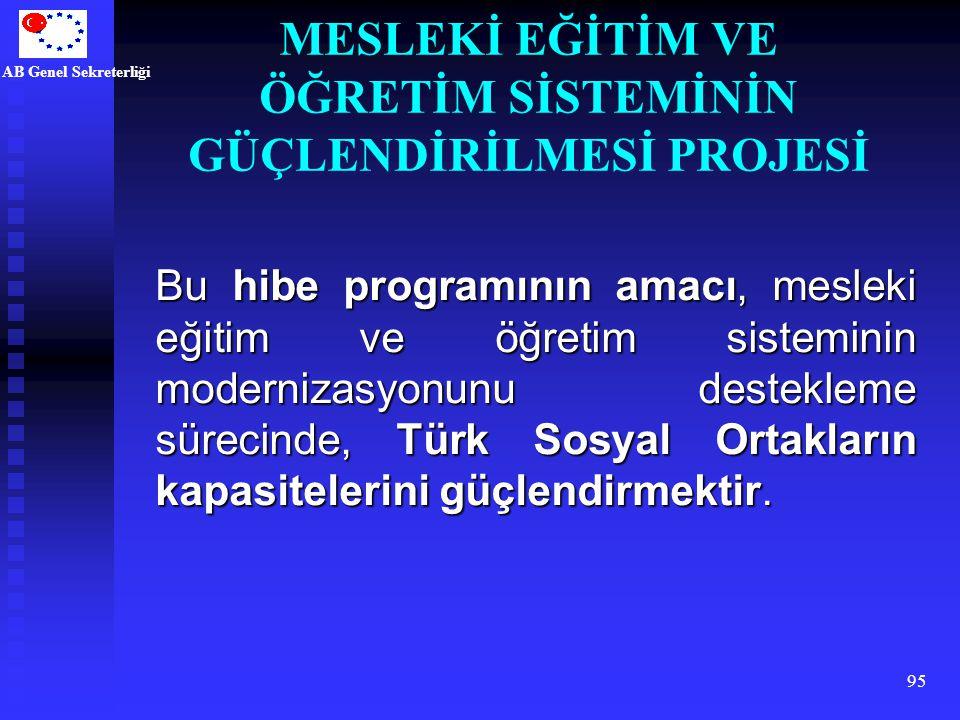 AB Genel Sekreterliği 95 Bu hibe programının amacı, mesleki eğitim ve öğretim sisteminin modernizasyonunu destekleme sürecinde, Türk Sosyal Ortakların