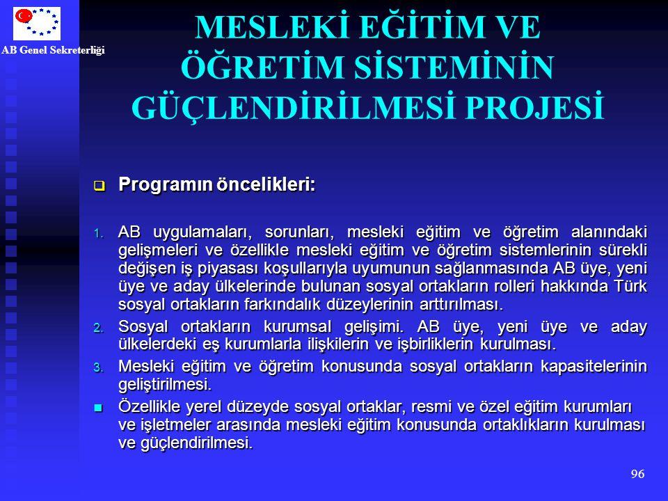 AB Genel Sekreterliği 96  Programın öncelikleri: 1. AB uygulamaları, sorunları, mesleki eğitim ve öğretim alanındaki gelişmeleri ve özellikle mesleki