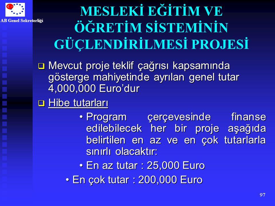 AB Genel Sekreterliği 97  Mevcut proje teklif çağrısı kapsamında gösterge mahiyetinde ayrılan genel tutar 4,000,000 Euro'dur  Hibe tutarları Program