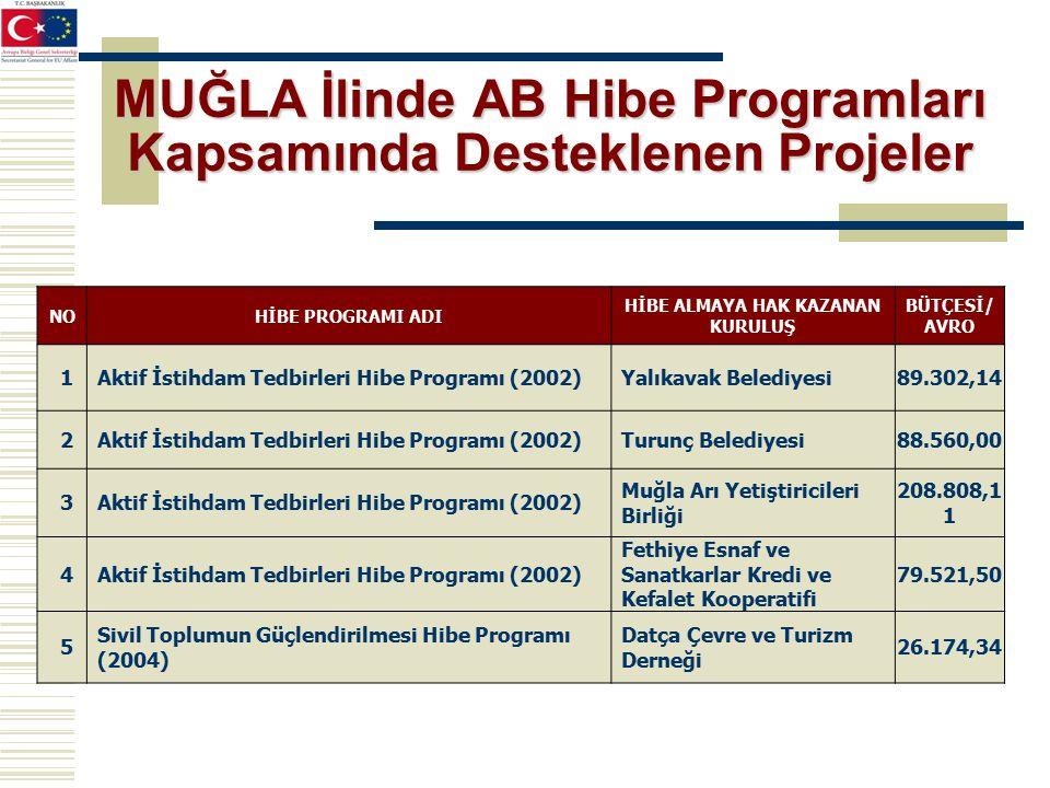 MUĞLA İlinde AB Hibe Programları Kapsamında Desteklenen Projeler NOHİBE PROGRAMI ADI HİBE ALMAYA HAK KAZANAN KURULUŞ BÜTÇESİ/ AVRO 1Aktif İstihdam Tedbirleri Hibe Programı (2002)Yalıkavak Belediyesi89.302,14 2Aktif İstihdam Tedbirleri Hibe Programı (2002)Turunç Belediyesi88.560,00 3Aktif İstihdam Tedbirleri Hibe Programı (2002) Muğla Arı Yetiştiricileri Birliği 208.808,1 1 4Aktif İstihdam Tedbirleri Hibe Programı (2002) Fethiye Esnaf ve Sanatkarlar Kredi ve Kefalet Kooperatifi 79.521,50 5 Sivil Toplumun Güçlendirilmesi Hibe Programı (2004) Datça Çevre ve Turizm Derneği 26.174,34