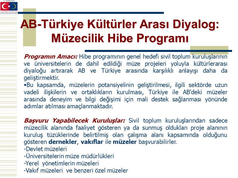 Programın Amacı: Hibe programının genel hedefi sivil toplum kuruluşlarının ve üniversitelerin de dahil edildiği müze projeleri yoluyla kültürlerarası diyaloğu artırarak AB ve Türkiye arasında karşılıklı anlayışı daha da geliştirmektir.