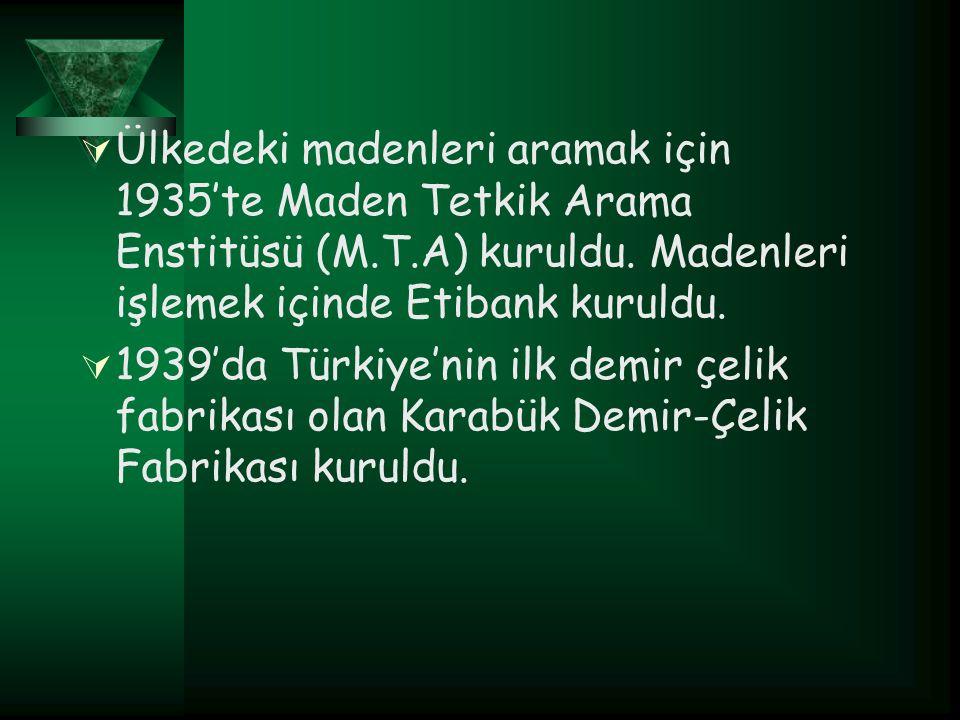  Ülkedeki madenleri aramak için 1935'te Maden Tetkik Arama Enstitüsü (M.T.A) kuruldu. Madenleri işlemek içinde Etibank kuruldu.  1939'da Türkiye'nin