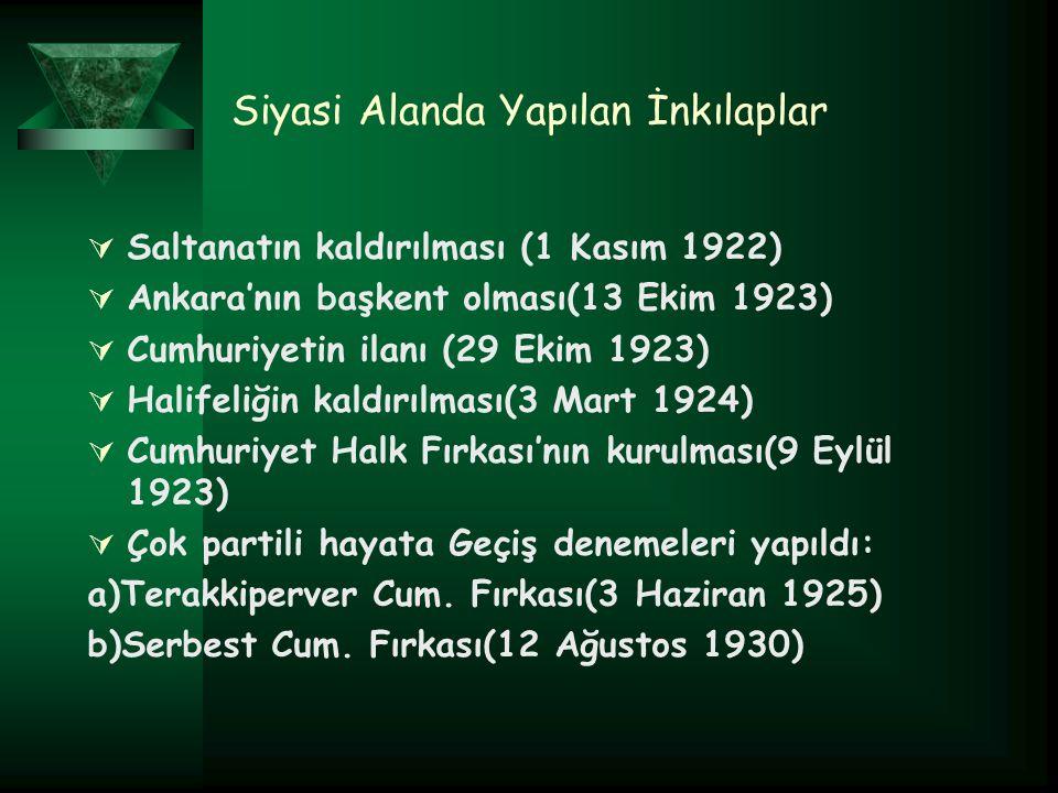 Siyasi Alanda Yapılan İnkılaplar  Saltanatın kaldırılması (1 Kasım 1922)  Ankara'nın başkent olması(13 Ekim 1923)  Cumhuriyetin ilanı (29 Ekim 1923)  Halifeliğin kaldırılması(3 Mart 1924)  Cumhuriyet Halk Fırkası'nın kurulması(9 Eylül 1923)  Çok partili hayata Geçiş denemeleri yapıldı: a)Terakkiperver Cum.