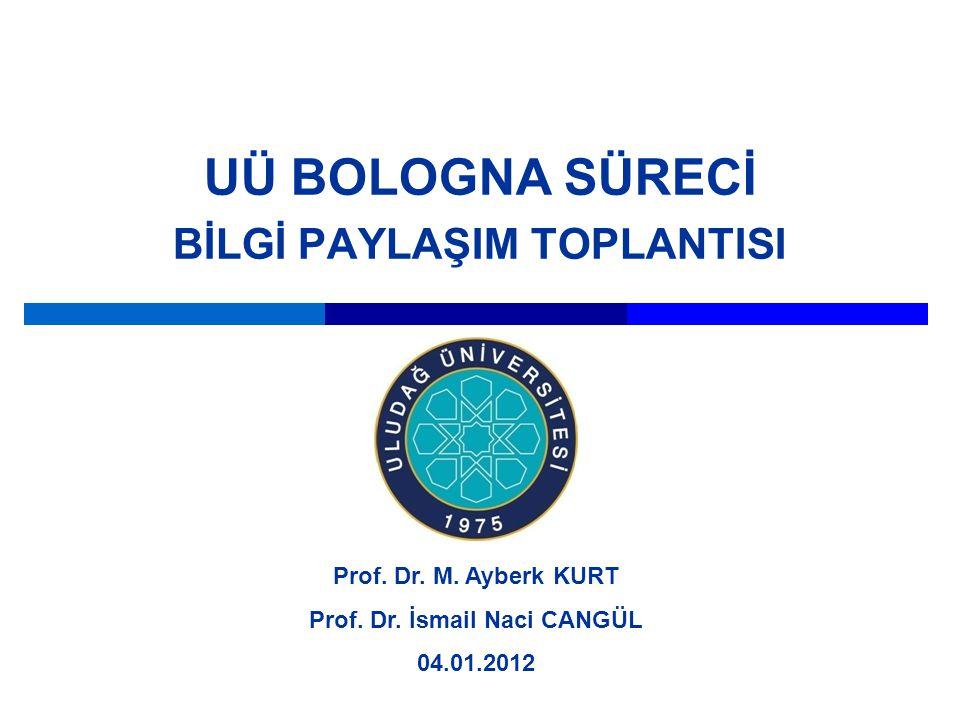 UÜ BOLOGNA SÜRECİ BİLGİ PAYLAŞIM TOPLANTISI Prof. Dr. M. Ayberk KURT Prof. Dr. İsmail Naci CANGÜL 04.01.2012