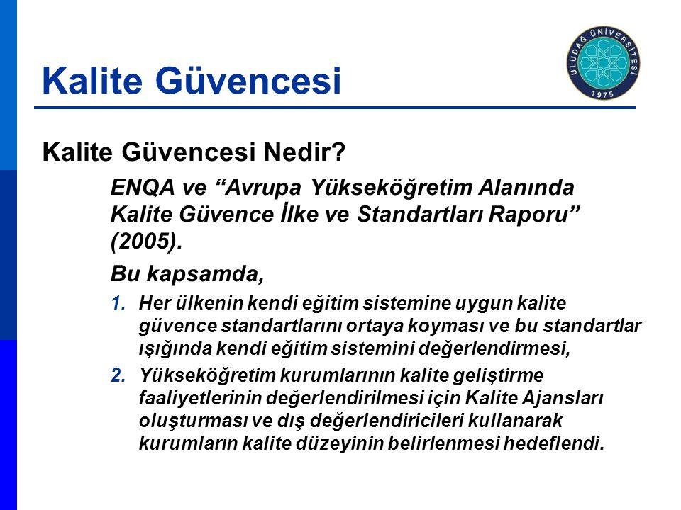 """Kalite Güvencesi Nedir? ENQA ve """"Avrupa Yükseköğretim Alanında Kalite Güvence İlke ve Standartları Raporu"""" (2005). Bu kapsamda, 1.Her ülkenin kendi eğ"""