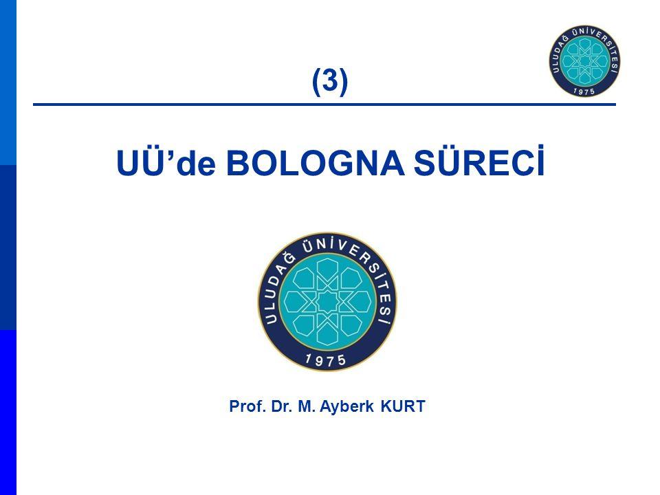 UÜ'de BOLOGNA SÜRECİ Prof. Dr. M. Ayberk KURT (3)