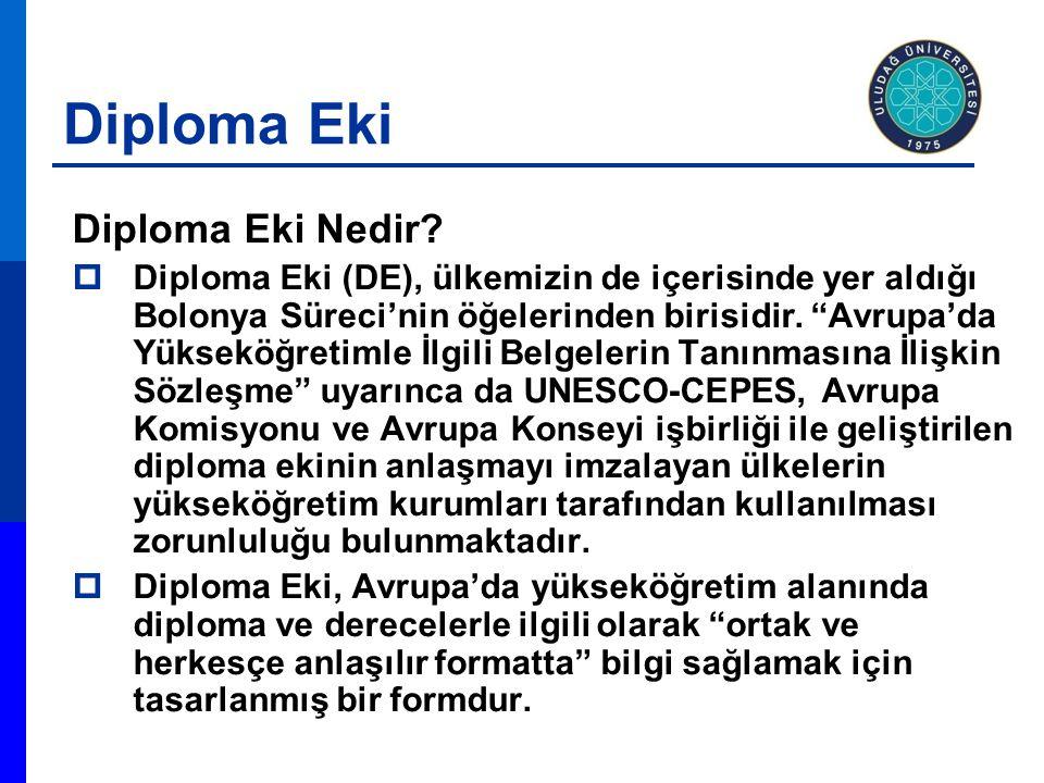 """Diploma Eki Diploma Eki Nedir?  Diploma Eki (DE), ülkemizin de içerisinde yer aldığı Bolonya Süreci'nin öğelerinden birisidir. """"Avrupa'da Yükseköğret"""