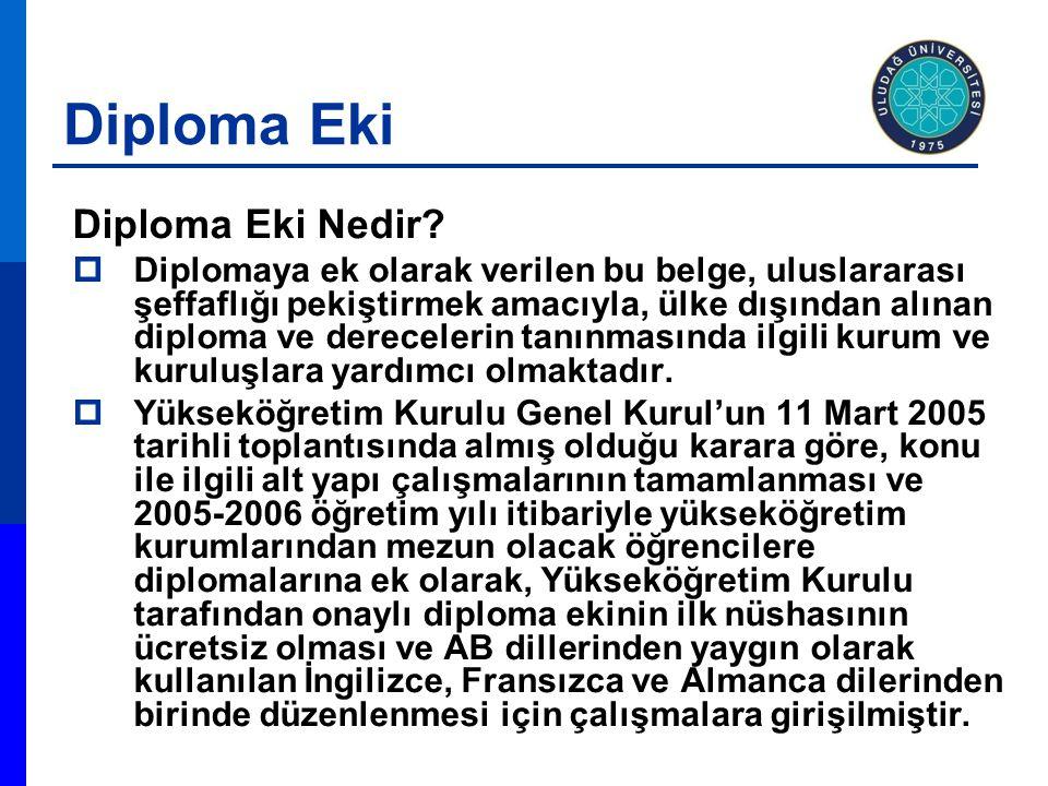 Diploma Eki Diploma Eki Nedir?  Diplomaya ek olarak verilen bu belge, uluslararası şeffaflığı pekiştirmek amacıyla, ülke dışından alınan diploma ve d