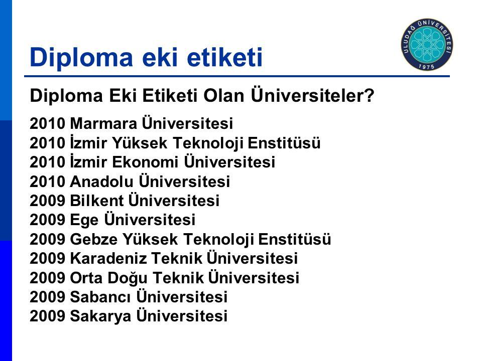 Diploma eki etiketi Diploma Eki Etiketi Olan Üniversiteler? 2010 Marmara Üniversitesi 2010 İzmir Yüksek Teknoloji Enstitüsü 2010 İzmir Ekonomi Ünivers