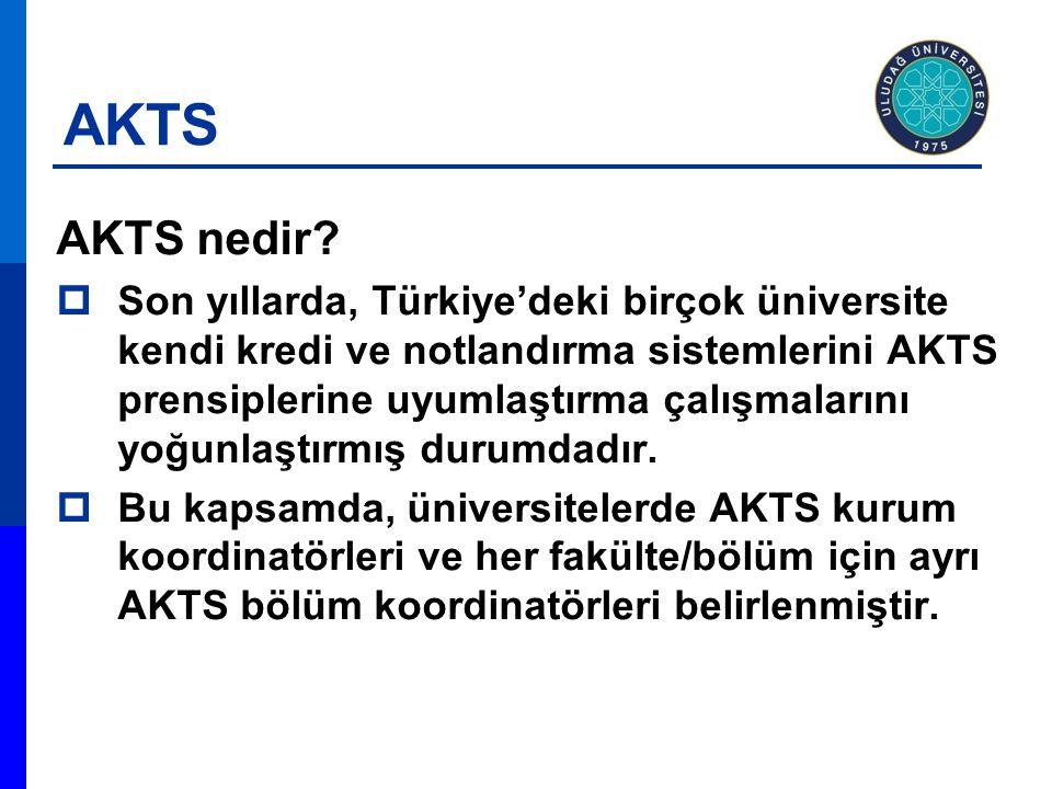AKTS AKTS nedir?  Son yıllarda, Türkiye'deki birçok üniversite kendi kredi ve notlandırma sistemlerini AKTS prensiplerine uyumlaştırma çalışmalarını