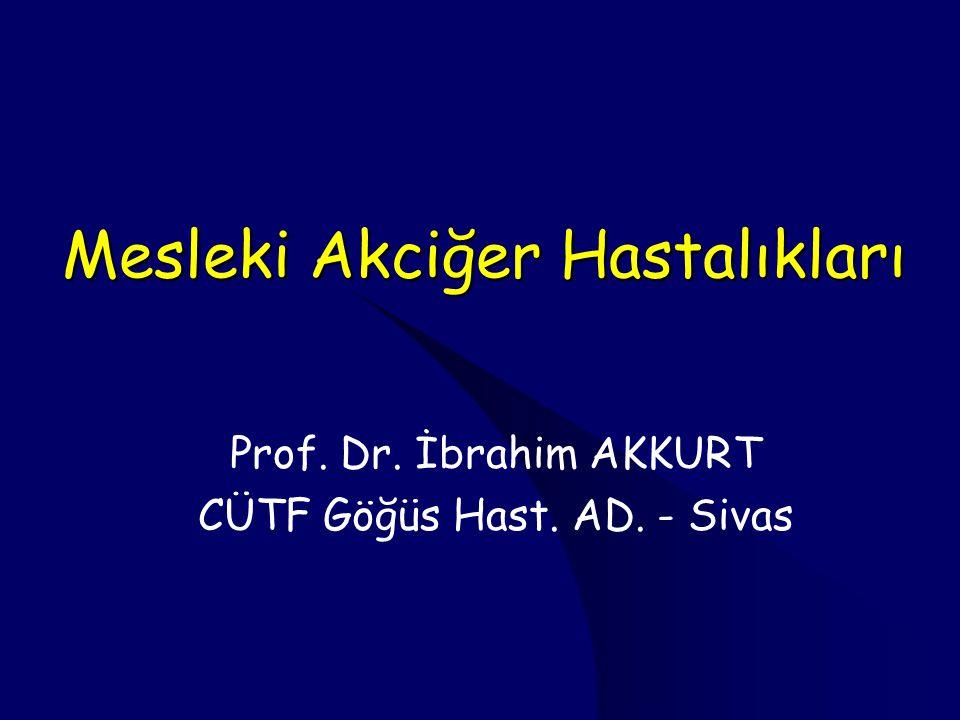 Mesleki Akciğer Hastalıkları Prof. Dr. İbrahim AKKURT CÜTF Göğüs Hast. AD. - Sivas