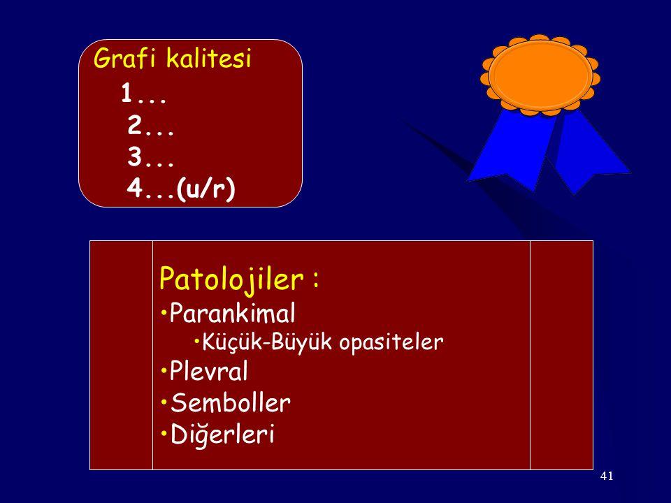 41 Patolojiler : Parankimal Küçük-Büyük opasiteler Plevral Semboller Diğerleri Grafi kalitesi 1... 2... 3... 4...(u/r)