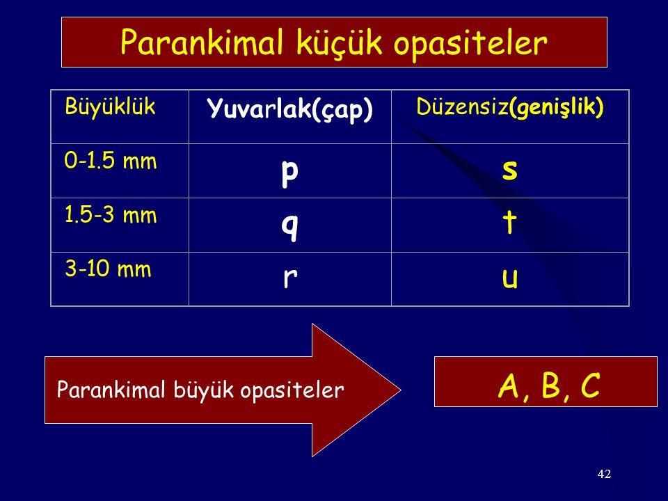 42 Büyüklük Yuvarlak(çap) Düzensiz(genişlik) 0-1.5 mm ps 1.5-3 mm qt 3-10 mm ru Parankimal küçük opasiteler A, B, C Parankimal büyük opasiteler