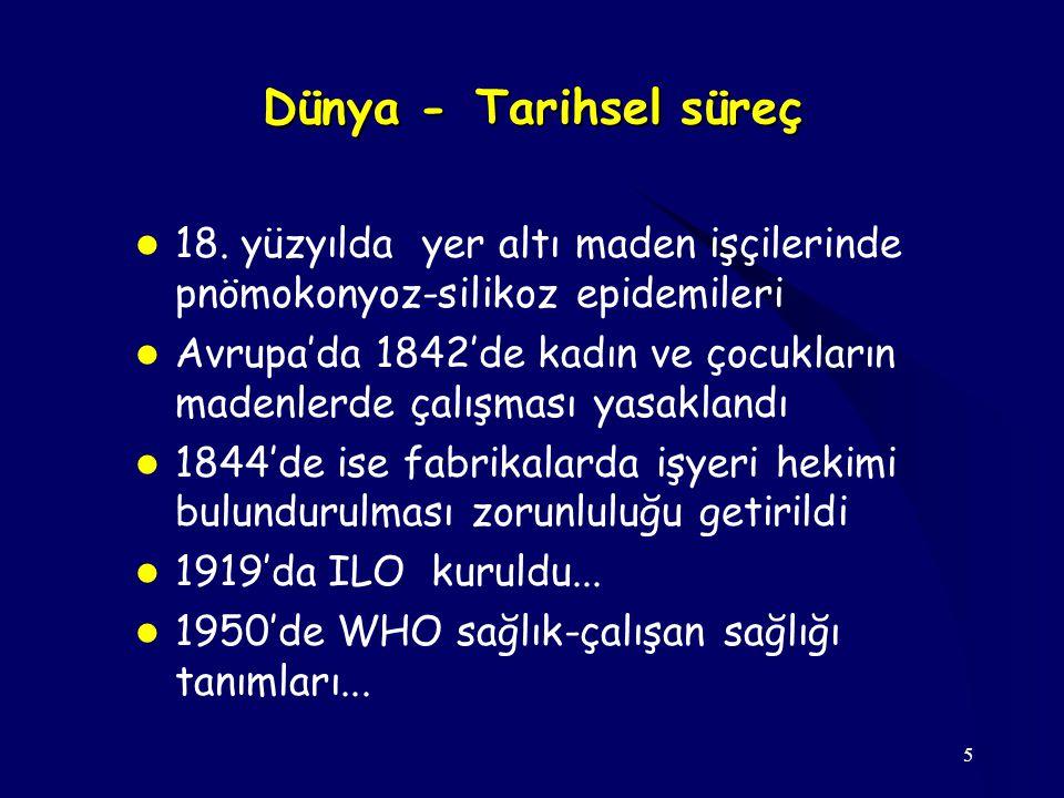 16 Meslek Hastalığı Epidemiyolojik veriler Dünya-Türkiye