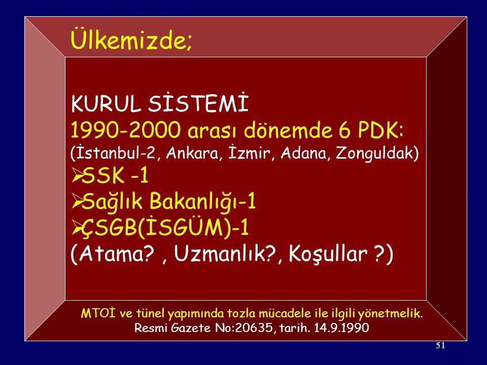 51 KURUL SİSTEMİ 1990-2000 arası dönemde 6 PDK: (İstanbul-2, Ankara, İzmir, Adana, Zonguldak)  SSK -1  Sağlık Bakanlığı-1  ÇSGB(İSGÜM)-1 (Atama?, Uzmanlık?, Koşullar ?) Ülkemizde; MTOİ ve tünel yapımında tozla mücadele ile ilgili yönetmelik.