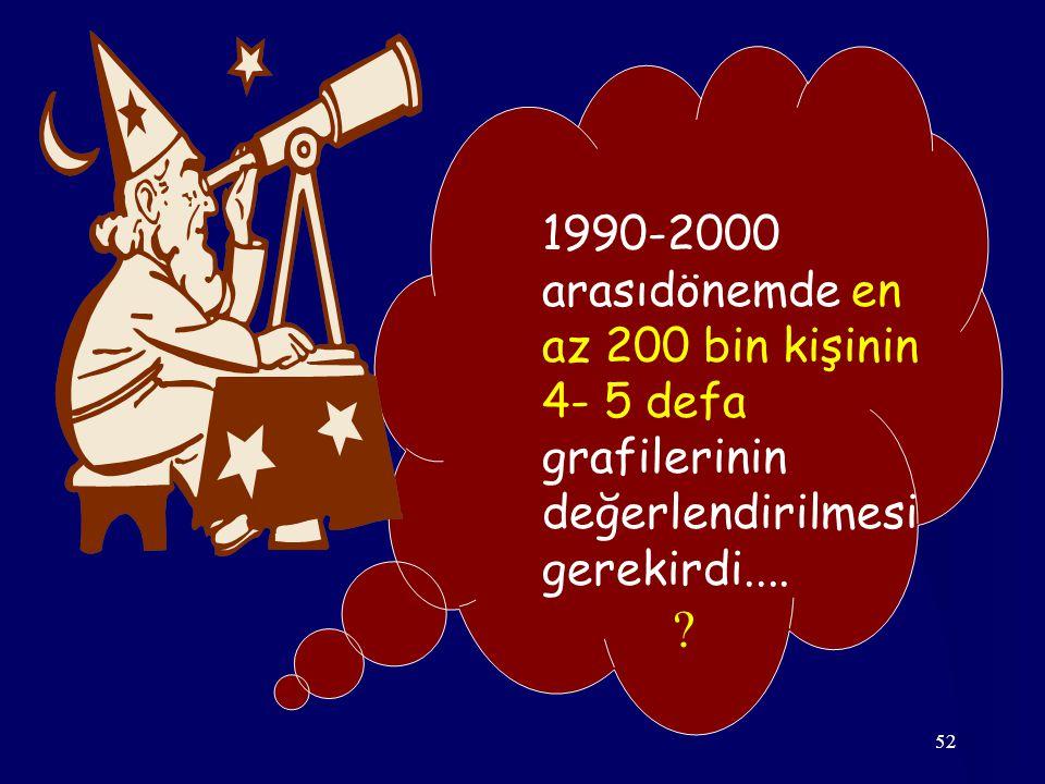 52 1990-2000 arasıdönemde en az 200 bin kişinin 4- 5 defa grafilerinin değerlendirilmesi gerekirdi....