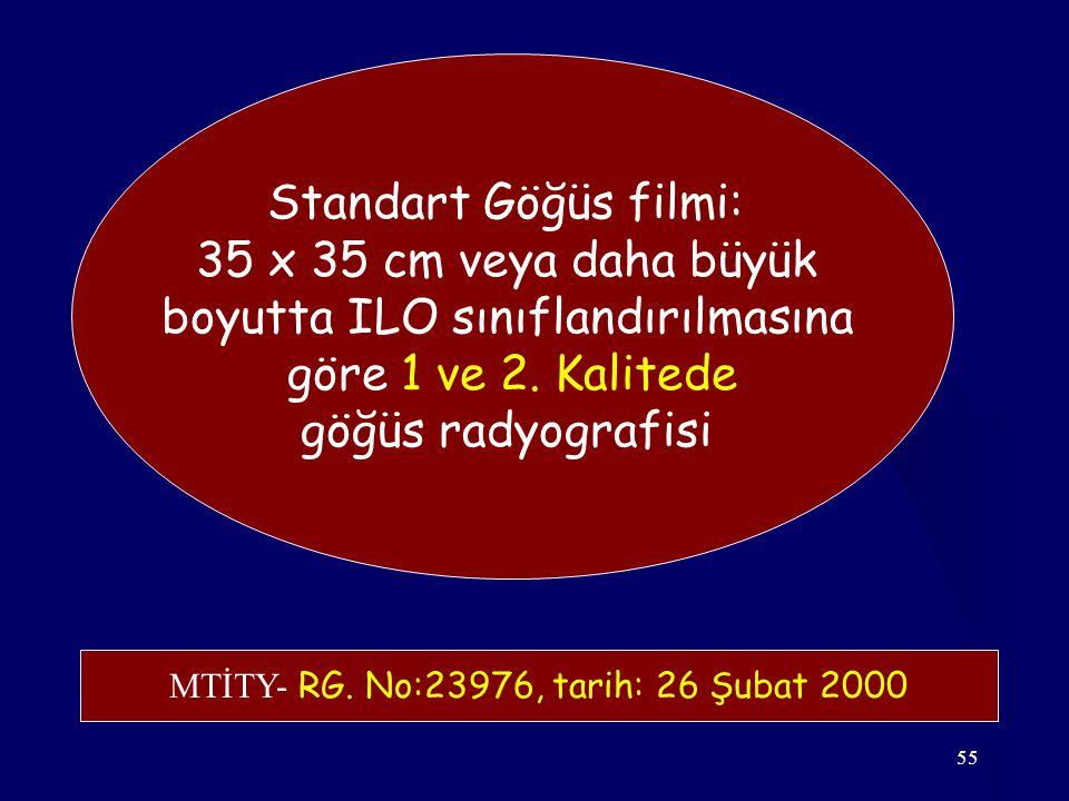 55 Standart Göğüs filmi: 35 x 35 cm veya daha büyük boyutta ILO sınıflandırılmasına göre 1 ve 2.