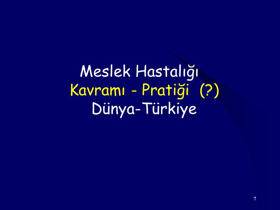7 Meslek Hastalığı Kavramı - Pratiği (?) Dünya-Türkiye