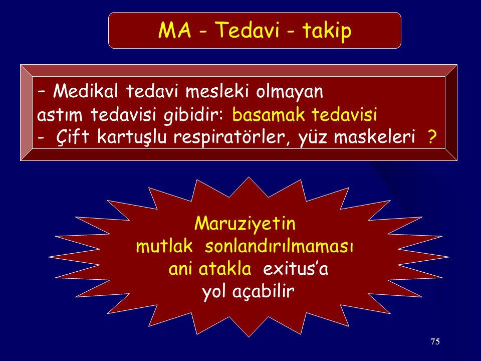 75 - Medikal tedavi mesleki olmayan astım tedavisi gibidir: basamak tedavisi - Çift kartuşlu respiratörler, yüz maskeleri ? MA - Tedavi - takip Maruzi