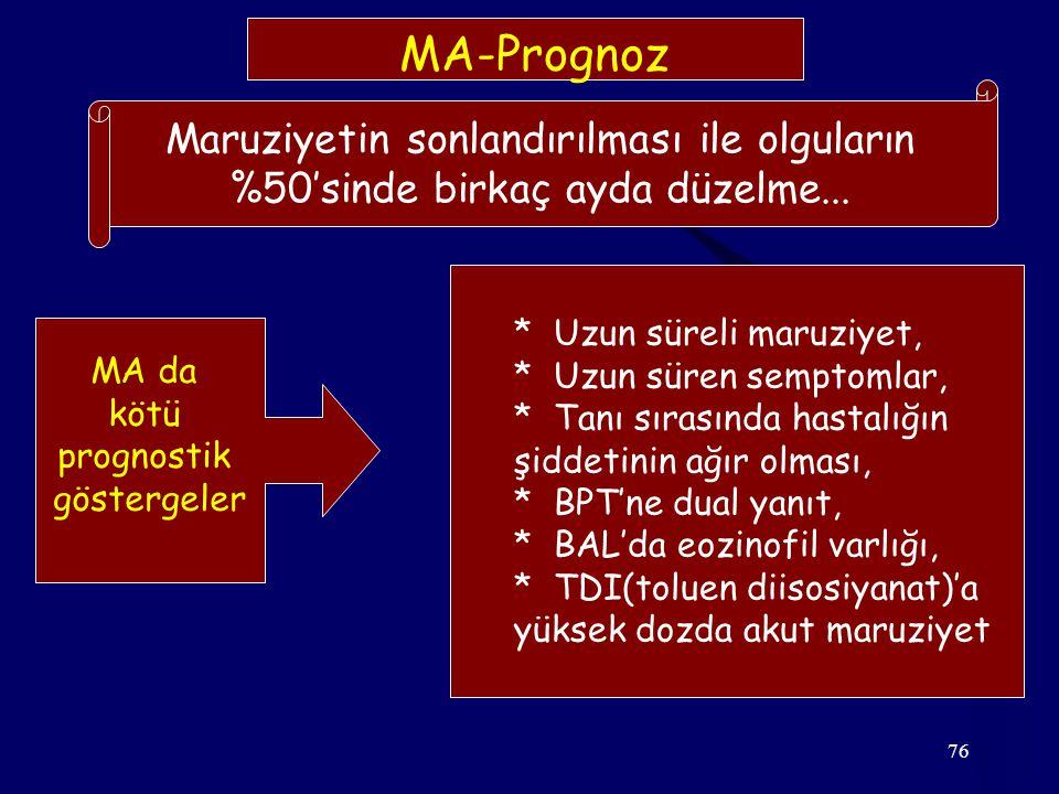 76 MA-Prognoz Maruziyetin sonlandırılması ile olguların %50'sinde birkaç ayda düzelme... MA da kötü prognostik göstergeler * Uzun süreli maruziyet, *