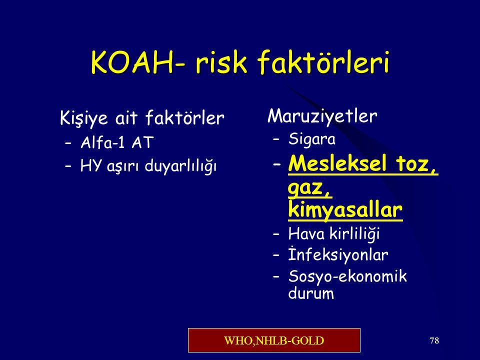 78 KOAH- risk faktörleri Kişiye ait faktörler – Alfa-1 AT – HY aşırı duyarlılığı Maruziyetler – Sigara – Mesleksel toz, gaz, kimyasallar – Hava kirliliği – İnfeksiyonlar – Sosyo-ekonomik durum WHO,NHLB-GOLD