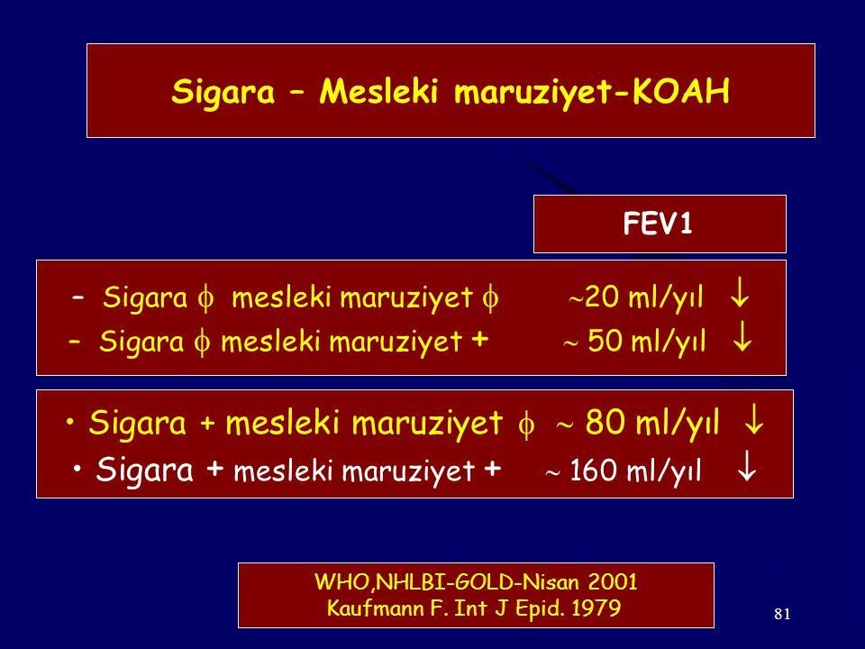81 Sigara – Mesleki maruziyet-KOAH – Sigara  mesleki maruziyet   20 ml/yıl  – Sigara  mesleki maruziyet +  50 ml/yıl  Sigara + mesleki maruziye