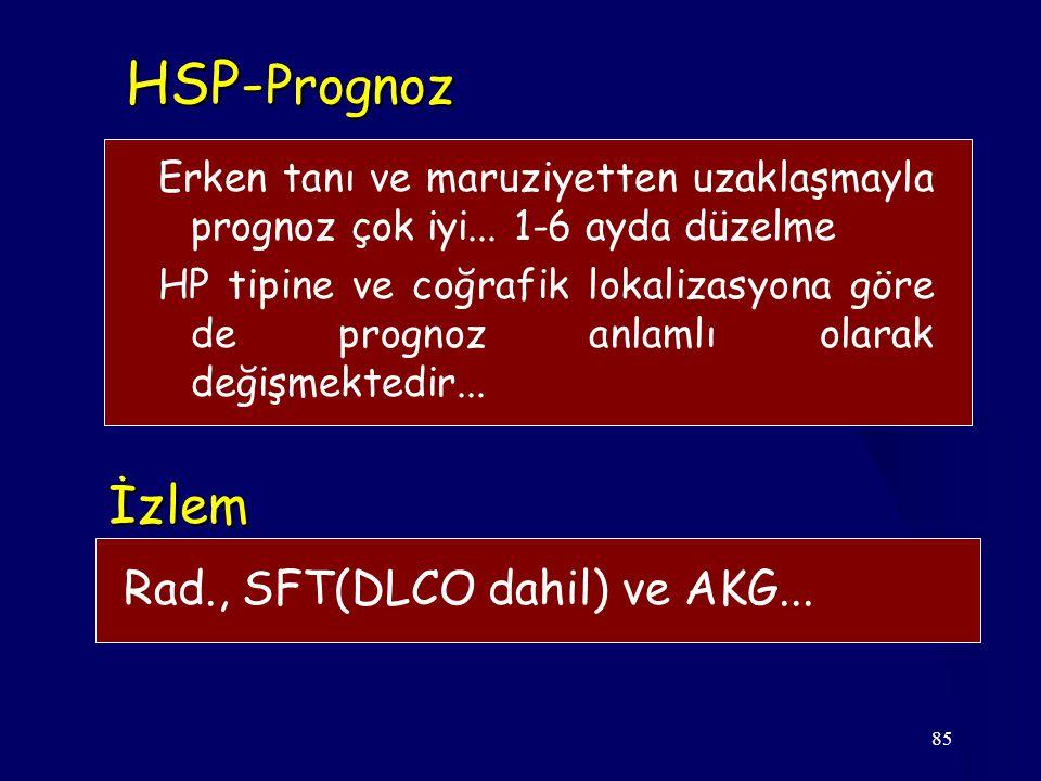 85 HSP- Prognoz İzlem Rad., SFT(DLCO dahil) ve AKG... Erken tanı ve maruziyetten uzaklaşmayla prognoz çok iyi... 1-6 ayda düzelme HP tipine ve coğrafi