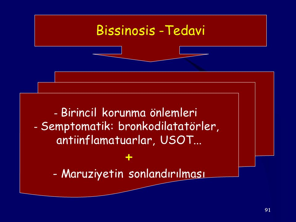 91 Bissinosis -Tedavi - Birincil korunma önlemleri - Semptomatik: bronkodilatatörler, antiinflamatuarlar, USOT... + - Maruziyetin sonlandırılması
