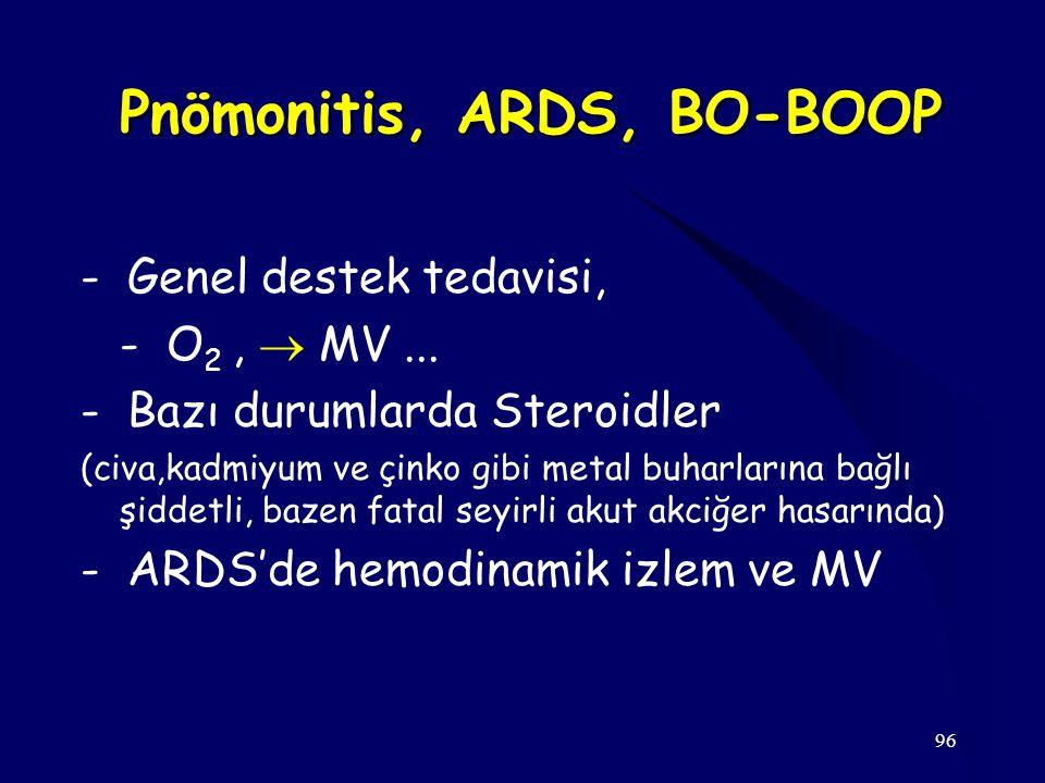 96 Pnömonitis, ARDS, BO-BOOP - Genel destek tedavisi, - O 2,  MV... - Bazı durumlarda Steroidler (civa,kadmiyum ve çinko gibi metal buharlarına bağlı