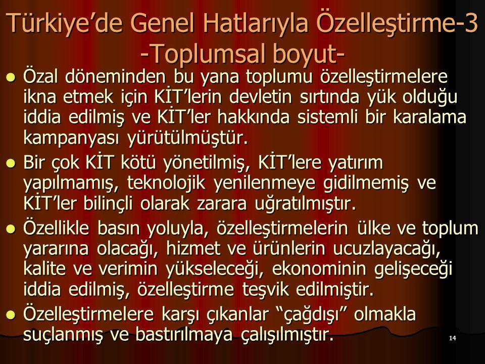 14 Türkiye'de Genel Hatlarıyla Özelleştirme-3 -Toplumsal boyut- Özal döneminden bu yana toplumu özelleştirmelere ikna etmek için KİT'lerin devletin sı