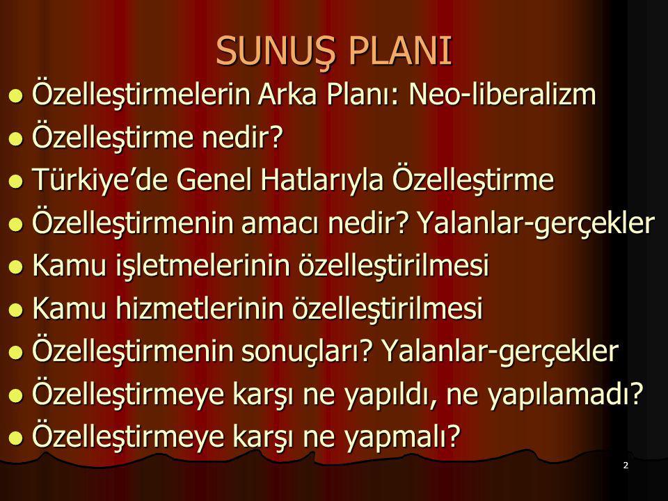 2 SUNUŞ PLANI Özelleştirmelerin Arka Planı: Neo-liberalizm Özelleştirmelerin Arka Planı: Neo-liberalizm Özelleştirme nedir? Özelleştirme nedir? Türkiy