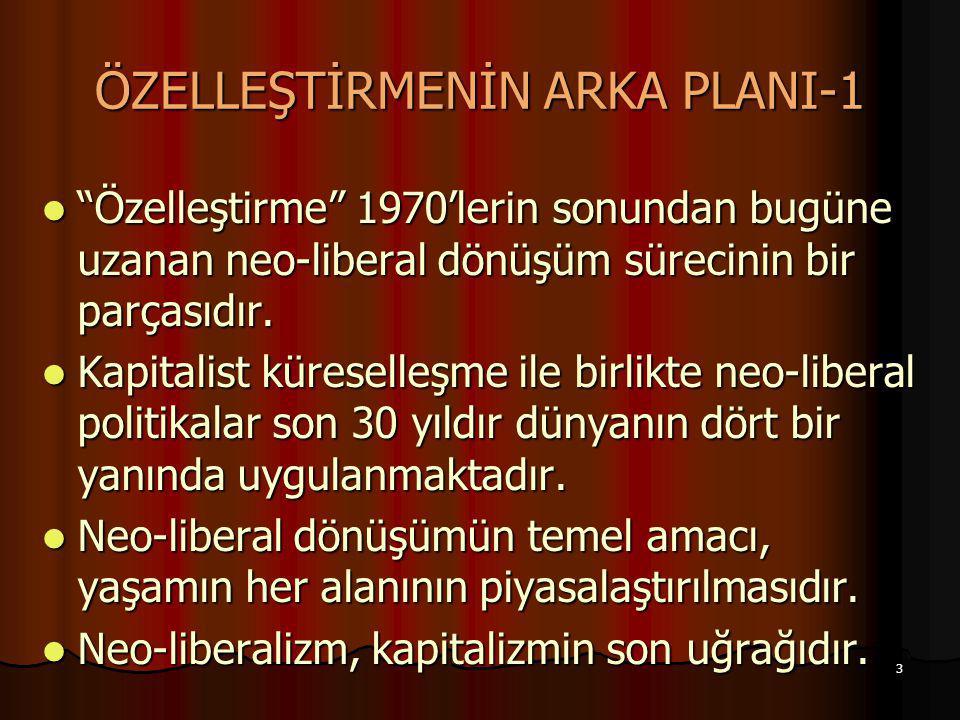 """3 ÖZELLEŞTİRMENİN ARKA PLANI-1 """"Özelleştirme"""" 1970'lerin sonundan bugüne uzanan neo-liberal dönüşüm sürecinin bir parçasıdır. """"Özelleştirme"""" 1970'leri"""