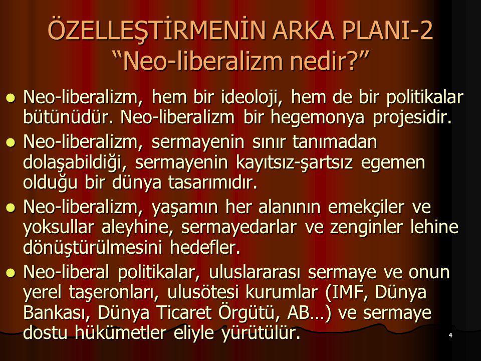 """4 ÖZELLEŞTİRMENİN ARKA PLANI-2 """"Neo-liberalizm nedir?"""" Neo-liberalizm, hem bir ideoloji, hem de bir politikalar bütünüdür. Neo-liberalizm bir hegemony"""