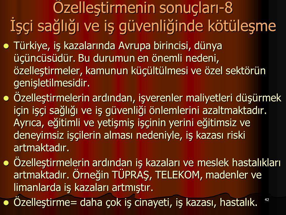 42 Özelleştirmenin sonuçları-8 İşçi sağlığı ve iş güvenliğinde kötüleşme Türkiye, iş kazalarında Avrupa birincisi, dünya üçüncüsüdür. Bu durumun en ön