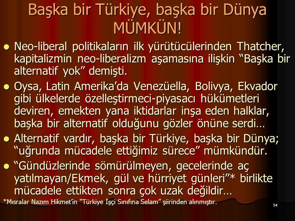 """54 Başka bir Türkiye, başka bir Dünya MÜMKÜN! Neo-liberal politikaların ilk yürütücülerinden Thatcher, kapitalizmin neo-liberalizm aşamasına ilişkin """""""