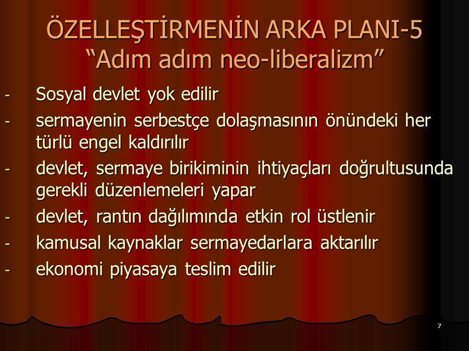 """7 ÖZELLEŞTİRMENİN ARKA PLANI-5 """"Adım adım neo-liberalizm"""" - Sosyal devlet yok edilir - sermayenin serbestçe dolaşmasının önündeki her türlü engel kald"""