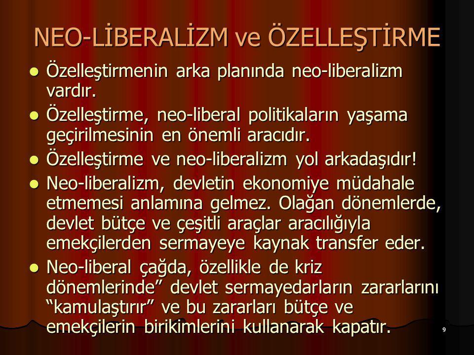 9 NEO-LİBERALİZM ve ÖZELLEŞTİRME Özelleştirmenin arka planında neo-liberalizm vardır. Özelleştirmenin arka planında neo-liberalizm vardır. Özelleştirm