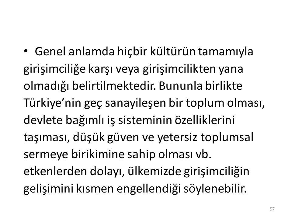Genel anlamda hiçbir kültürün tamamıyla girişimciliğe karşı veya girişimcilikten yana olmadığı belirtilmektedir. Bununla birlikte Türkiye'nin geç sana
